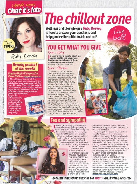 "Niroshini Direct Trade Tea featured in Lifestyle Expert, Ruby Deevoy's column ""Chat it's Fate""."
